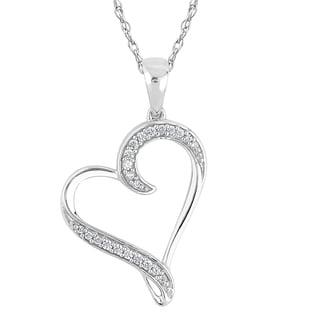 10k White Gold 1/8ct TDW Diamond Heart Necklace