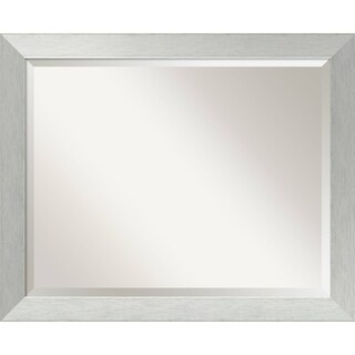 Wall Mirror Large, Brushed Sterling Silver 32 x 26-inch