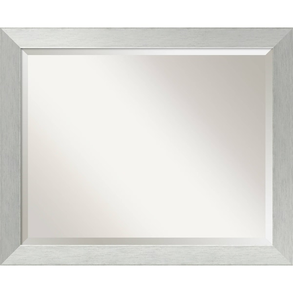 Wall Mirror Large, Brushed Sterling Silver 32 x 26-inch - large - 32 x 26-inch