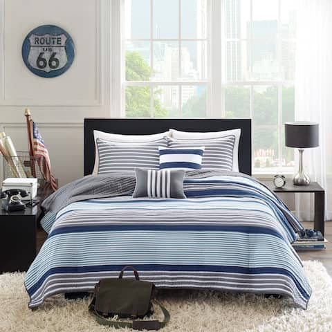 Intelligent Design Steven Blue 5-piece Coverlet Set
