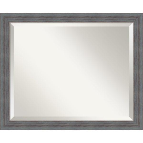 Wall Mirror, Dixie Grey Rustic Wood - Blue/Grey/Brown