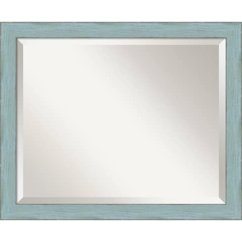 Wall Mirror, Sky Blue Rustic Wood