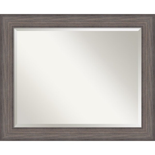 Wall Mirror Large, Country Barnwood 34 x 28-inch - Brown/Grey - large - 34 x 28-inch