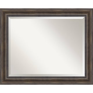 Wall Mirror Large, Rustic Pine 34 x 28-inch - Brown - 27.38 x 33.38 x 0.756 inches deep