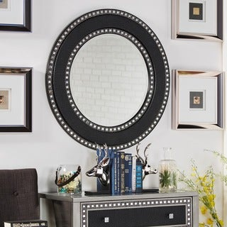 Oslo Black Finish Round Accent Wall Mirror