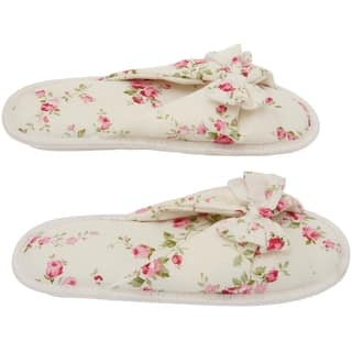 Printed Cotton Women's Memory Foam Slipper with Butterfly Tie - Floral Peonies