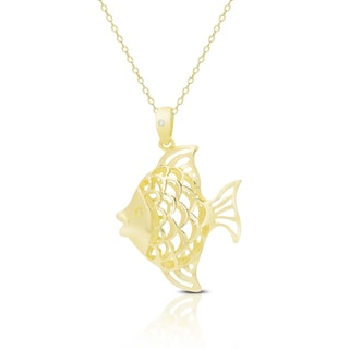 Finesque Gold Over Sterling Silver Diamond Accent Fish Necklace