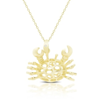 Finesque Gold Over Sterling Silver Diamond Accent Crab Necklace