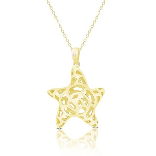 Finesque Gold Over Sterling Silver Diamond Accent Starfish Necklace