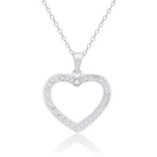 Finesque Sterling Silver Diamond Accent Heart Necklace