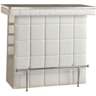 Fastiv White PU Leather Bar Table