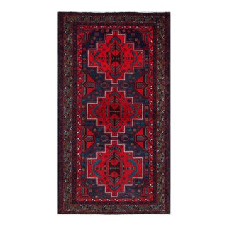 Herat Oriental Afghan Hand-Knotted Tribal Balouchi Navy/ Red Wool Rug (3'7 x 6'6)