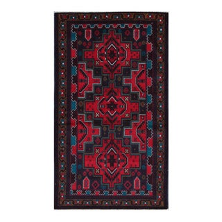 Herat Oriental Afghan Hand-Knotted Tribal Balouchi Navy/ Red Wool Rug (3'7 x 6'3)
