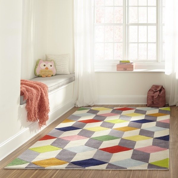 Momeni Lil Mo Hipster Multicolor 3D Blocks Hand-Tufted Rug (8' X 10')