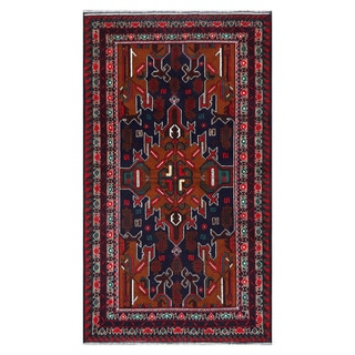 Herat Oriental Afghan Hand-Knotted Tribal Balouchi Navy/ Brown Wool Rug (3'7 x 6'3)