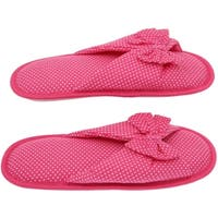 Cotton Polka Dot Women's Open-Toe Flip-Flops - Cute Classic Butterfly Bow - Soft, Gripping Non-Slip Durable Rubber Sole - Pink