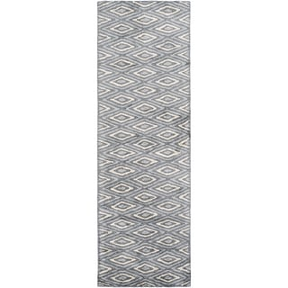 Hand-Woven Grimsby Geometric Viscose Rug (2'6 x 10')