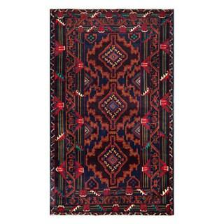 Herat Oriental Afghan Hand-Knotted Tribal Balouchi Wool Rug (4'1 x 6'10)