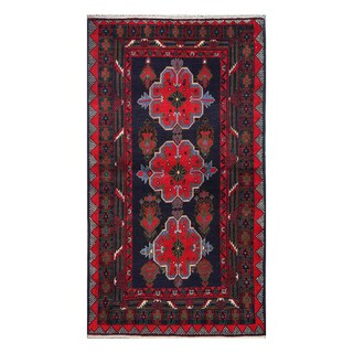 Herat Oriental Afghan Hand-Knotted Tribal Balouchi Navy/ Red Wool Rug (3'5 x 6'2)