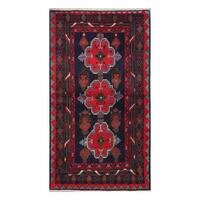 Herat Oriental Afghan Hand-Knotted Tribal Balouchi Wool Rug (3'5 x 6'2)