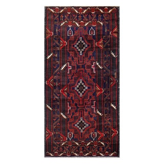 Herat Oriental Afghan Hand-Knotted Tribal Balouchi Navy/ Red Wool Rug (3'4 x 6'11)