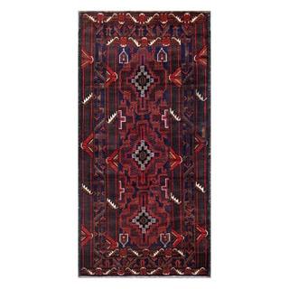 Herat Oriental Afghan Hand-Knotted Tribal Balouchi Wool Rug (3'4 x 6'11)