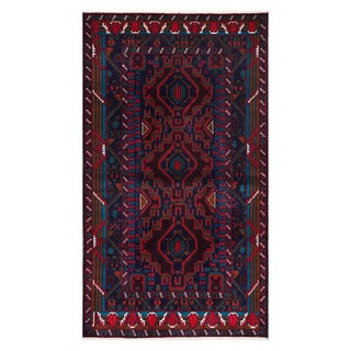 Herat Oriental Afghan Hand-Knotted Tribal Balouchi Wool Rug (3'9 x 6'8)