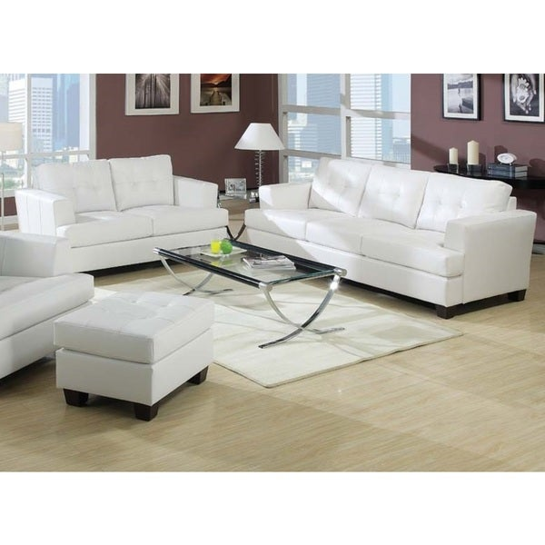 Kalush White Bonded Leather 2 Piece Living Room Set Free Shipping Today Overstock 17511053