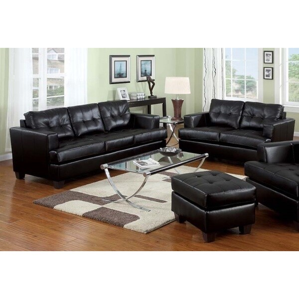 Shop kalush black bonded leather 2 piece living room set free shipping today 2 piece leather living room set