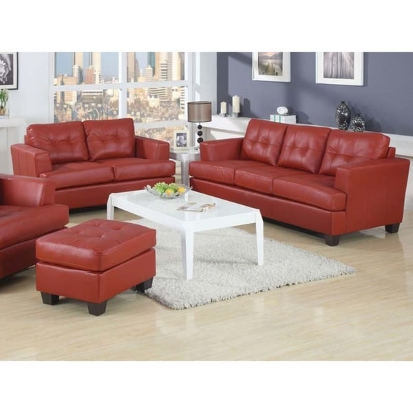 Kalush red bonded leather 2 piece living room set free for 6 piece living room set