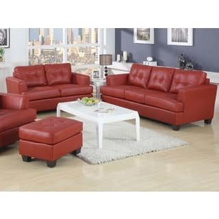 kalush red bonded leather 2 piece living room set - Red Leather Living Room Set