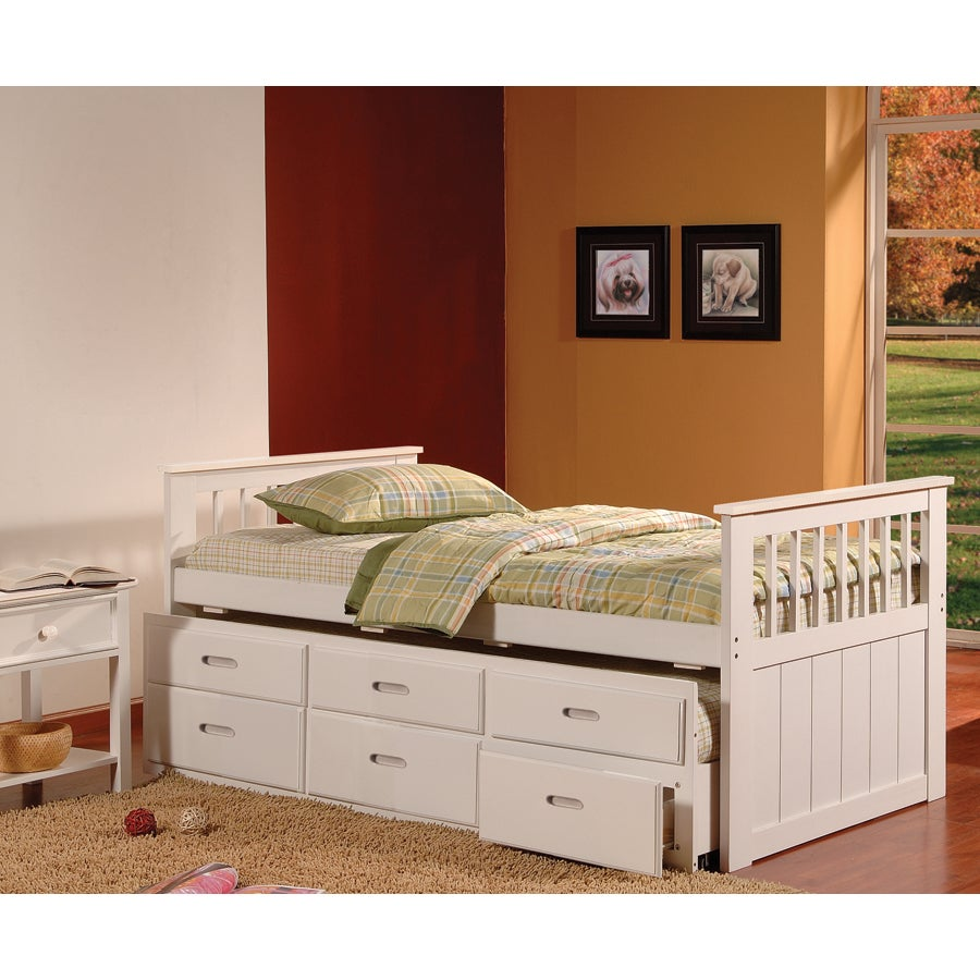 Bella Twin Trundle Captains Bed with Drawers (White - Whi...