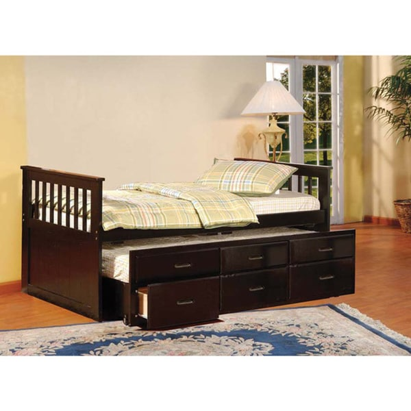 Shop Twin Trundle Captains Bed Drawers Overstock