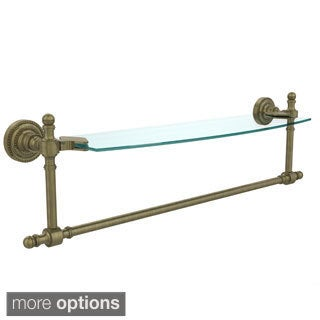 Retro Dot Collection 18-inch Glass Vanity Shelf with Integrated Towel Bar
