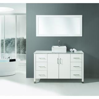 ICA Furniture Medina 55-inch Marble Top White Modern Bathroom Vanity with Mirror