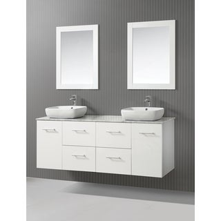 ICA Furniture Selena 63-inch Marble Top White Modern Bathroom Vanity with Mirror and Vessel Sinks