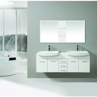 ICA Furniture Cleo 59 Inch Marble Top White Modern Bathroom Vanity With  Mirror