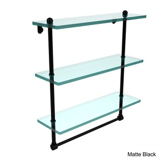 16-inch 3-tiered Glass Shelf with Integrated Towel Bar (Option: Matte Black)