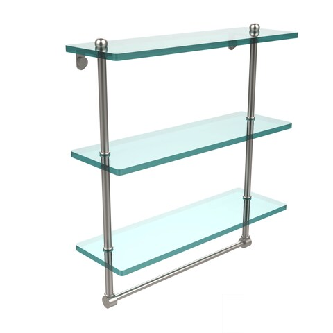 16-inch 3-tiered Glass Shelf with Integrated Towel Bar