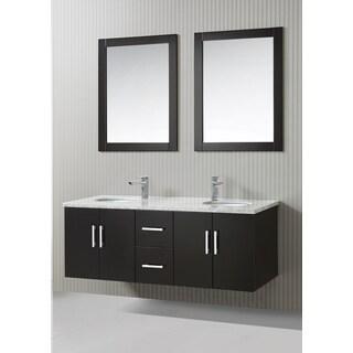 ICA Furniture Zora 59-inch Marble Top Espresso Modern Bathroom Vanity with Mirror