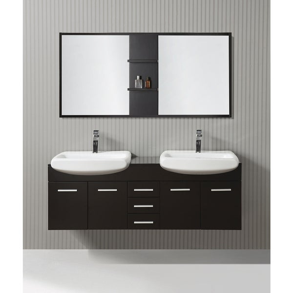 ica furniture cleo 59 inch espresso modern bathroom vanity with mirror
