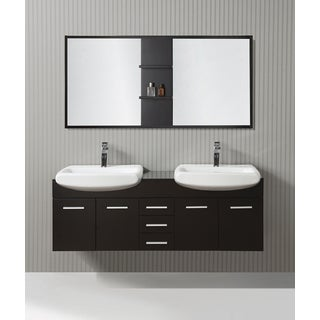 ICA Furniture Cleo 59-inch Espresso Modern Bathroom Vanity with Mirror