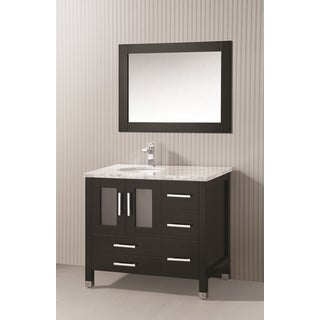 ICA Furniture Sara 36-inch Marble Top Espresso Modern Bathroom Vanity with Mirror