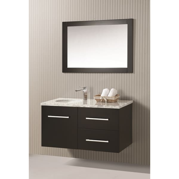 ica furniture zora 41 inch marble top espresso modern bathroom vanity