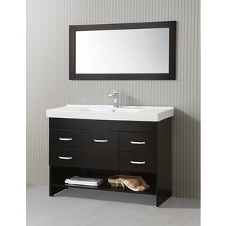 ICA Furniture Natalia 47-inch Espresso Modern Bathroom Vanity with Mirror