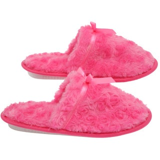Women's Memory Foam Slippers - Best Indoor and Outdoor Closed Toe Rose Peddle Fleece  Hot Pink