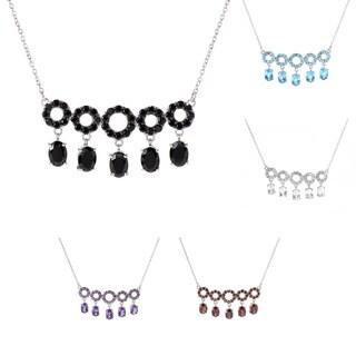 Sterling Silver Gemstone Circle Bar Necklace