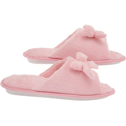 Women's Butterfly Bow Slip-On Memory Foam House Slippers - Open Toe - Fleece Memory Foam - Non-Marking Rubber Sole - Pink