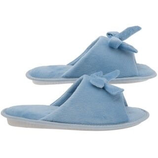 Women's Memory Foam Slippers - Best Indoor and Outdoor Open Toe Fleece House Butterfly Tie Shoes for Wide Feet - Blue