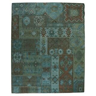 Kosas Home Handwoven Medley Patchwork Wool Kilim Lagoon Rug (8'x10')